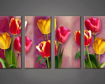 Tulips wall Art, Art Print on Canvas,Extra Large Wall Art , Canvas Art, Home Art, Living Room Flower Picture, 4 piece wall art