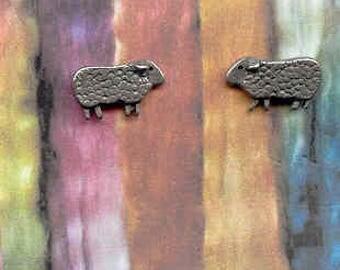 Mini Baa Baa Sheep pewter post earrings