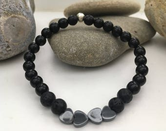 Lava Bead Essential Oil Diffuser Bracelet with Hermatite Handmade