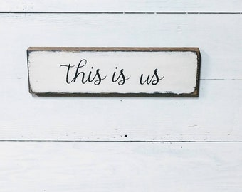 This Is Us Wood Sign, Shelf Sitter, Farmhouse Home Decor, Farmhouse Style Sign, Photo Collage Sign, Family Sign, Small Sign, Photo Display
