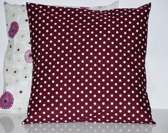 Cushion - 40 x 40 cm - fabric - Burgundy and white polka dots