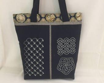 Large Shoulder Bag Tote Japanese Sashiko Style Blue Indigo with Metallic Gold Fabric Trim Shoulder Bag Tote