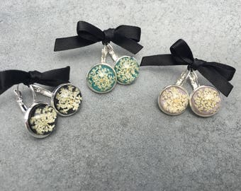 White Queen Anne's Lace against Turquoise / Lavender /  Black Silver Plated French Lever Drop Earrings, Resin Jewelry, Pressed Flowers