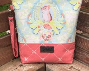 Handmade Morning Glen Project Bag - Blend Fabrics - Haven - knitting/crochet/zipper pouch