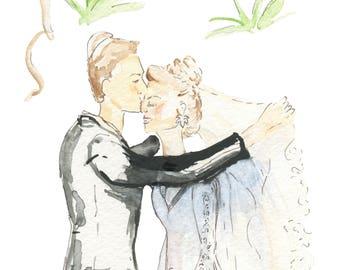 Custom Jewish Wedding Illustration, Custom wedding portrait, Wedding Gift for Couple, Jewish wedding ideas, wedding portrait, gift for bride