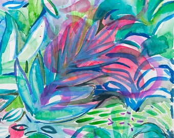 Original Art Gift, Jungle Art, Tropical painting, Bright leaves - Pink - Turquoise, Vivid color, bold, Palm, Foliage