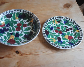 Rare Vintage Villeroy and Boch Wallerfangan  Salad Drainer Bowl and Plate 1920's Made in Saar-Basin Germany