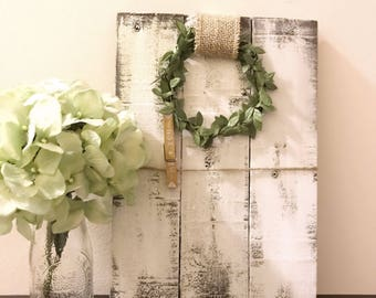 Photo Display with Wreath // Rustic // Hand made