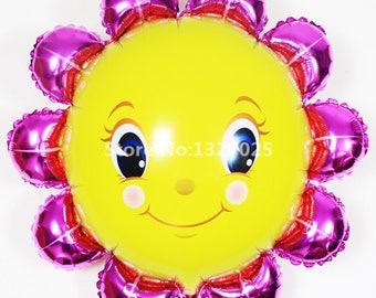 10pcs/lot Baby shower smile sun flower air balls Helium foil Balloons sun balloon Birthday Decorations wedding balloons balao