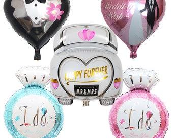 5pcs/lot Wedding car ballon Diamond ring Foil balloon party decoration Wedding balloons inflatable Helium balloon air balloons