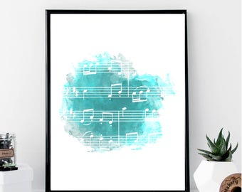 Watercolor Music Notes Print // Minimalist // Wall Art // Typography // Fashion // Scandinavian // Boho // Modern Office