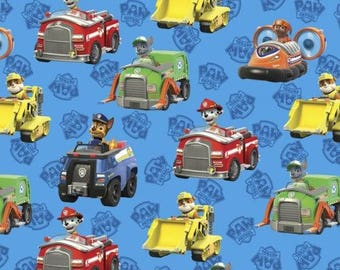 Nickelodeon Cartoon Fabric: Paw Patrol To The Rescue Puppies Characters and Cars Blue 100% cotton Fabric (DA69)