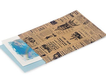 100 6x9 Newspaper print Paper Kraft Bags,Vintage style Newsprint Favor Craft Bag