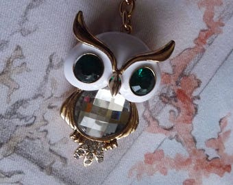 Big Owl Pendant, Owl Key Chain, Owl Charm, Rhinestone Charm, Large Owl Pendant, Enamel Owl Keychain, Animal Key Rings
