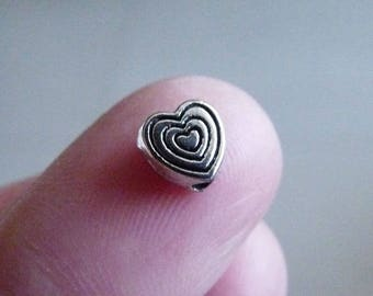 Heart Beads, Heart Charms, Heart Spacer Beads, Love Beads, Antique Silver Tone Beads, Beading Supplies