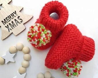 Christmas Booties - Hand Knitted - Newborn - Australian Merino Wool - Made to Order