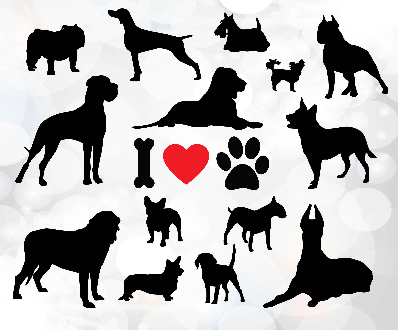 Download I love dogs svg Dog Silhouette bundle Dog breeds SVG