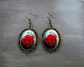 Boucles d'oreilles Ovales festonnées, Boucles d'oreilles cabochon  rétro vintage bijoux romantique  fleur coquelicot