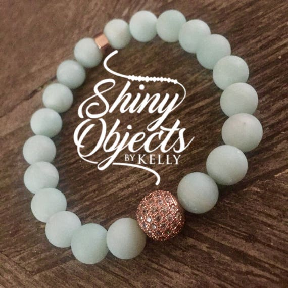 Matte Amazonite with Rose Gold CZ Bead