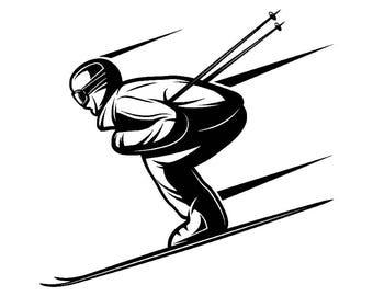 Snow Skier #2 Skiing Snowboarding Helmet Googles Mask Ski Winter Extreme Sport.SVG .EPS .PNG Digital Clipart Vector Cricut Cut Cutting File