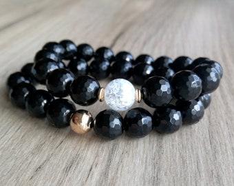 SET Black Agate Bracelet, Gemstones  Bracelet, Birthday Gift, Black bracelet, Boho jewelry