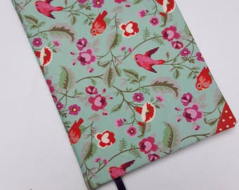 A5 address book with hard cover lined with textile