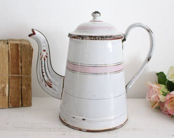 Vintage French White & Pink Enamel Coffee Pot