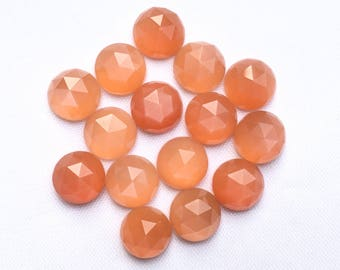 Orange Moonstone 6MM, 7MM, 8MM Round Rose Cut Cabochon. Pink Moonstone Faceted Cabs/ Peach Moonstone / Indian Moonstone Price per piece.