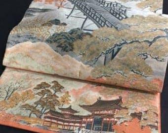 Japanese Obi sash, Manyo (Toji Kyoto) by Yamaki, Zentsu (full design for all length)