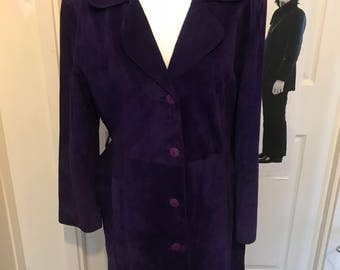 Purple suede coat size 12