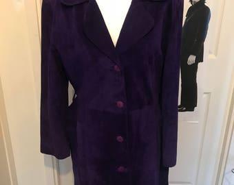 Purple suede coat size 12