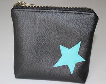 Coin door card large black faux leather and turquoise star