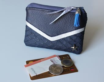 Wallet / card victory leatherette Navy Blue and silver