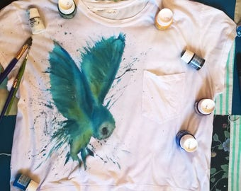 Owl hand painted t-shirt