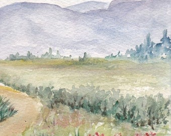 country lane 2 - original watercolor painting