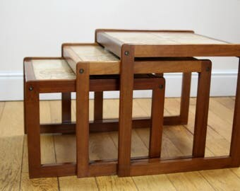 A Nest of Three Tile Topped Tables in the Danish Style by Sunelm