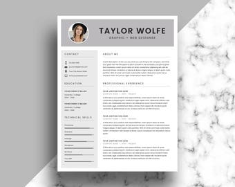 Professional Resume Template - CV Template - Printable Resume & Cover Letter Template - Modern Resume - Instant Download - Word and InDesign