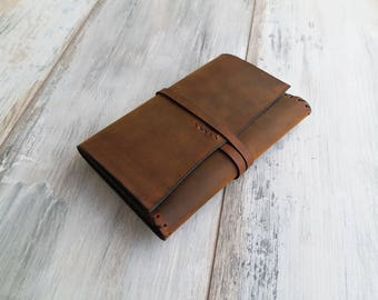 Leather Passport Wallet Leather Travel Wallet Brown Leather Passport Case Leather Roll Wallet