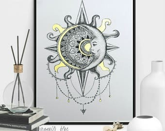 Bohemian Sun and Moon Celestial Framed Dotwork Drawing with Gold Mandala A4