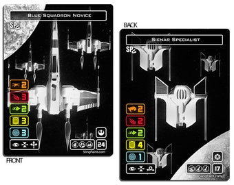 X-Wing Set of 4 Double Sided Blue Squadron Novice & Sienar Specialist Pilot Cards