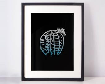 Patterned cactus art print - Silver/Teal/Black - 8.5x11 / 8x10
