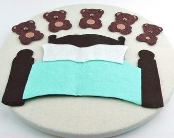 Wool Felt Bear Felt Board Story, Montessori Waldorf Toy, Simple Felt Bear Preschool Toy, Homeschool Preschool Bear Song, Flannel Board Fun