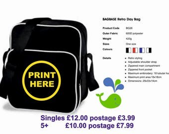 Personalised Printed Retro Day Bag.