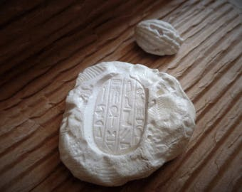 Fossil replica ooak reproduction with ancient Egypt hieroglyphics made in USA, shells in rock, fossil paperweight, middle Egyptian writing