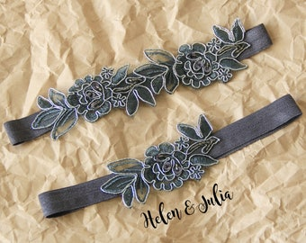 Charcoal Gray Flower Wedding Garter, Gray  Flower Lace Wedding Garter Belt,Dark Gray Wedding Garter