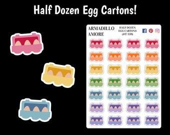 Half Dozen Egg Cartons {28 Fancy Matte or Glossy Planner Stickers}   #17-339