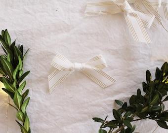 Tinsel Threaded Hand -Tied Bow Headband or Clip