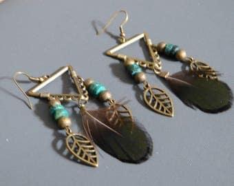 Leaf Charm earrings & feather