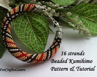 16 strands beaded kumihimo pattern tutorial Burberry style bracelet