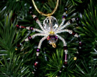 Christmas Spider Ornament - Crystal and Purple
